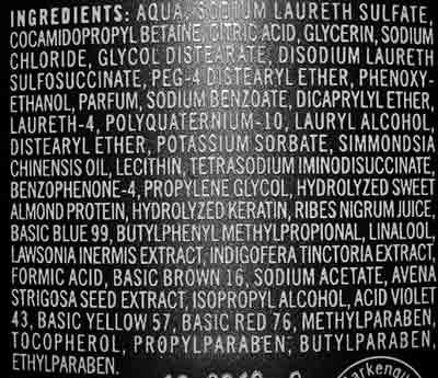 Inhaltsstoffe eines Haarshampoos