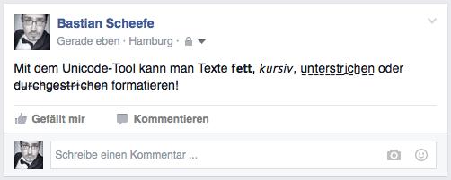 unicode-tool Durchgestrichene Texte für Facebook & Co.